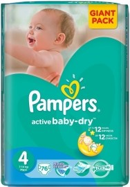 Pampers Active Baby 4 Maxi 7-14kg 76ks