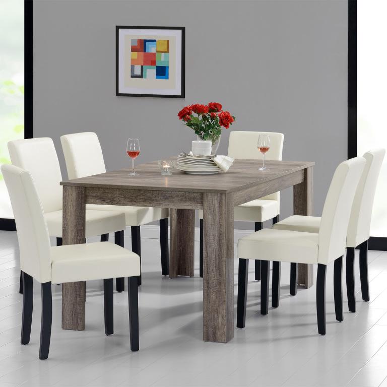 0e571a255dad En Casa Rustikálny dubový jedálenský stôl HTFU-2337 so 6 stoličkami  HTMY-9704