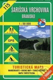 Šarišská vrchovina - Branisko - turistická mapa č. 115